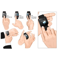 Set of multi-touch gestures for smart-watch vector image