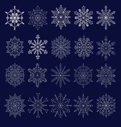 set of twenty openwork snowflakes vector image