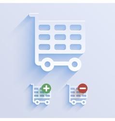 Shop basket paper icon vector