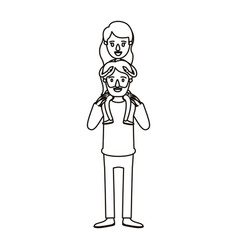 Silhouette caricature bearded father with girl on vector