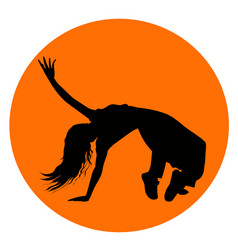 Silhouette of girl performing break-dance vector