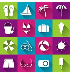 Summer beach flat icons collection of white icons vector image