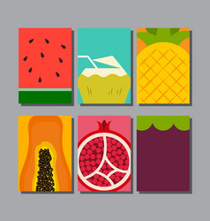 Summer fruit layout designtemplate cover vector