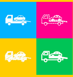 Tow car evacuation sign four styles of icon on vector