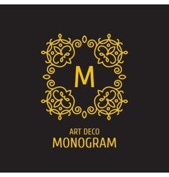 Vintage floral logo floral monogram design vector image