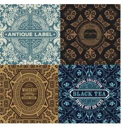 vintage label set with wallpaper retro desig vector image vector image