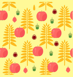 Wheat and apple seamless autumn pattern vector