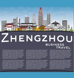 Zhengzhou skyline with gray buildings blue sky vector