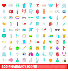 100 pharmacy icons set cartoon style vector