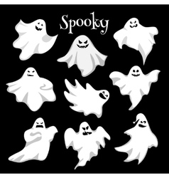 Scary white ghosts design on black background - vector
