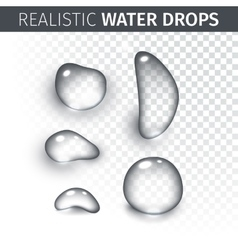 Pure clear water drops realistic set isolated vector