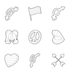 Sexual minorities icons set outline style vector