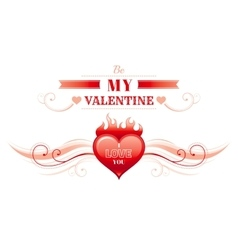 Happy valentines day border heart fire romance vector