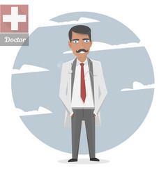 Character of the old doctor with a mustache vector