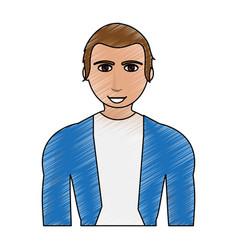 Color pencil cartoon half body guy with atlethic vector