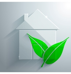 Glass icon of ecohouse vector