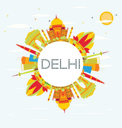 Delhi skyline with color buildings blue sky and vector