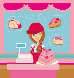 bakery store - saleswoman serving large pink cake vector image