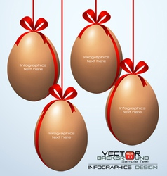 Realistic hanging eggs on the branch infographics vector