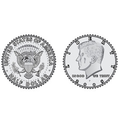 Metal coins half dollar vector
