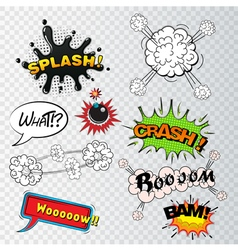 Comic speech bubbles sound effects cloud explosio vector