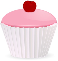 Pink iced cupcake vector