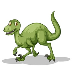 Green dinosaur with sharp teeth vector
