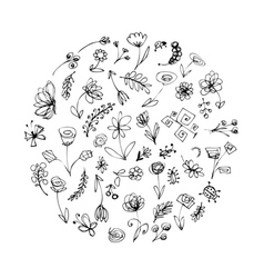 floral elements sketch vector image