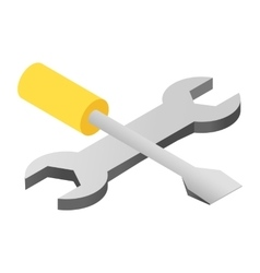 Screwdriver and wrench isometric 3d icon vector