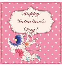 Happy valentine day card with cupid vintage vector