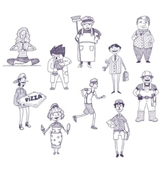 Professions drawings set vector