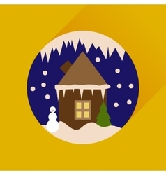 Flat web icon with long shadow house in snow globe vector