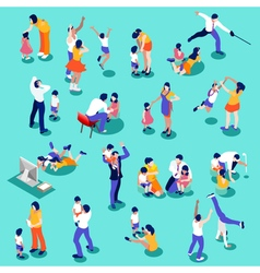 Family time set isometric people vector