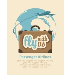Fly with us passenger plane and planet earth vector