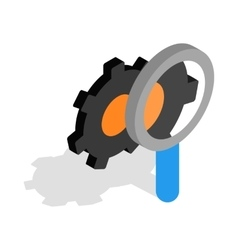 Magnifying glass and gears icon isometric 3d style vector