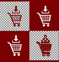 Add to shopping cart sign bordo and white vector