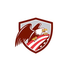 American Bald Eagle Clutching USA Flag Shield vector image