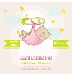 Baby girl cat sleeping - baby shower card vector
