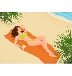 Beautiful girl in bikini on a sand beach vector image