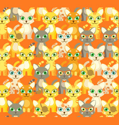 beige seamless pattern with cartoon cats vector image