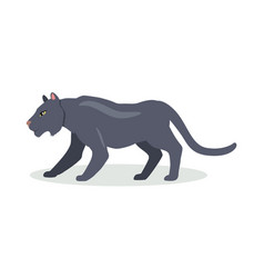 black jaguar cartoon icon in flat design vector image vector image