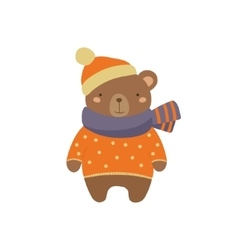 Brown bear in polka-dotted sweater childish vector