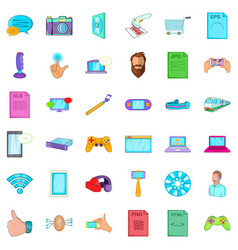 Business app icons set cartoon style vector