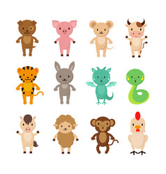 Chinese zodiac animals cartoon characters vector