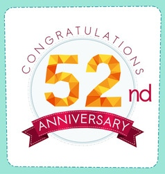 Colorful polygonal anniversary logo 3 052 vector