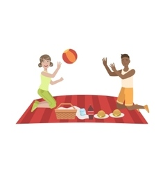 Couple playing ball on picnic vector