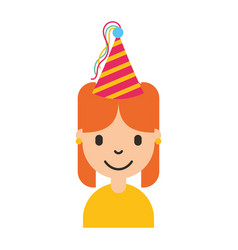 cute young girl with party hat avatar character vector image
