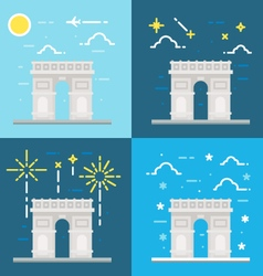 Flat design of arc de triomphe france vector