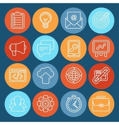 Flat icons - SEO symbols in outline style vector image vector image