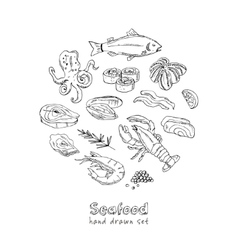 Frame with hand drawn seafood vector